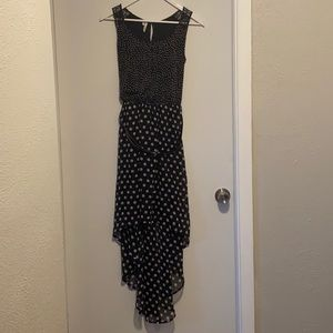 High low dress with belt.